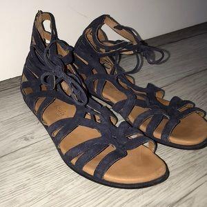 navy cutout sandals